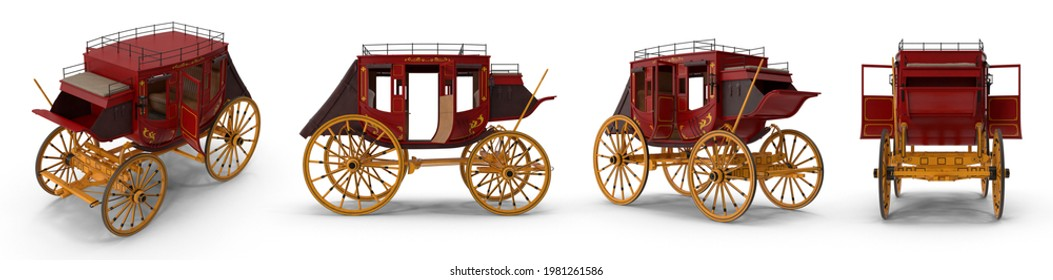Concord stagecoach is large closed horse-drawn vehicle formerly used to carry mail along regular route between two places. Isolated white background 3d illustration different angle view realistic set