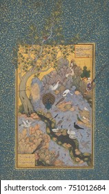 CONCOURSE OF THE BIRDS, by Habiballah of Sava, 17th c., Iranian painting, opaque watercolor on paper. Illustration of a mystical poem, Mantiq al-tair , written by a 12th century Iranian, Farid al-Din