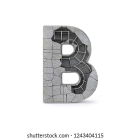 Concrete Alphabet B with clipping path. 3D illustration