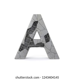 Concrete Alphabet A with clipping path. 3D illustration