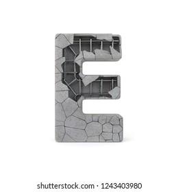 Concrete Alphabet E with clipping path. 3D illustration