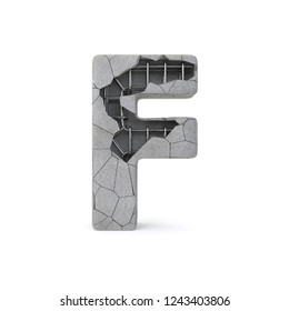Concrete Alphabet F with clipping path. 3D illustration
