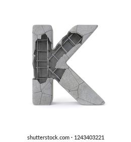 Concrete Alphabet K with clipping path. 3D illustration