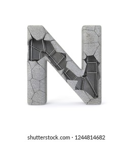 Concrete Alphabet N with clipping path. 3D illustration