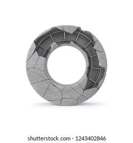 Concrete Alphabet O with clipping path. 3D illustration