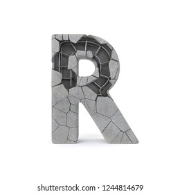 Concrete Alphabet R with clipping path. 3D illustration