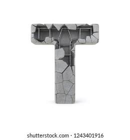 Concrete Alphabet T with clipping path. 3D illustration