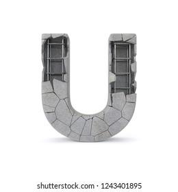 Concrete Alphabet U with clipping path. 3D illustration