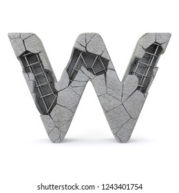 Concrete Alphabet W with clipping path. 3D illustration