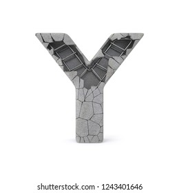 Concrete Alphabet Y with clipping path. 3D illustration