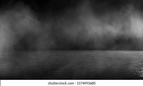 Concrete background, Texture dark concrete floor with fog