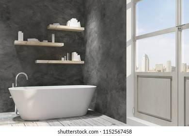 Concrete bathroom interior with decorative objects. Style and design concept. 3D Rendering