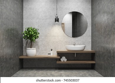 Concrete bathroom interior with a wooden shelf, a sink standing on it, a round mirror and a potted tree in the corner. 3d rendering mock up