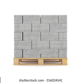 Concrete blocks on wooden pallet. isolated on white background