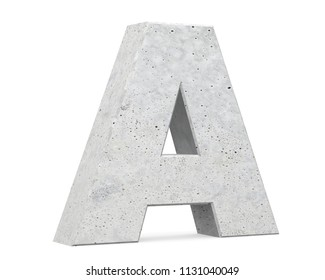 Concrete Capital Letter - A isolated on white background . 3D render Illustration