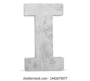 Concrete Capital Letter - I isolated on white background. 3D render Illustration