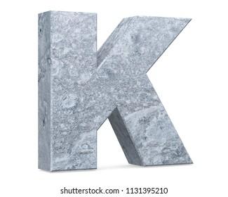 Concrete Capital Letter - K isolated on white background . 3D render Illustration