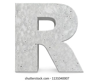 Concrete Capital Letter - R isolated on white background . 3D render Illustration