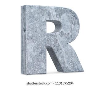 Concrete Capital Letter - R isolated on white background . 3D render Illustration