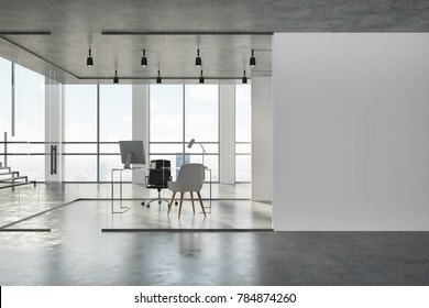 Concrete ceiling office lobby with white and glass walls, a concrete floor and glass doors. A computer desk and a white chair. 3d rendering mock up