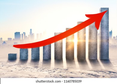 Concrete chart bars with upward red arrow on city background with sunlight. Financial growth and success concept. 3D Rendering