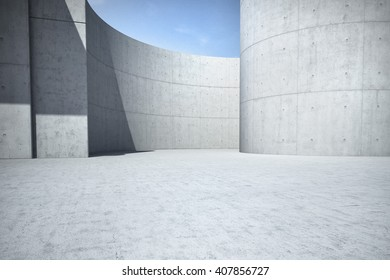 Concrete clean empty car background 3D illustration