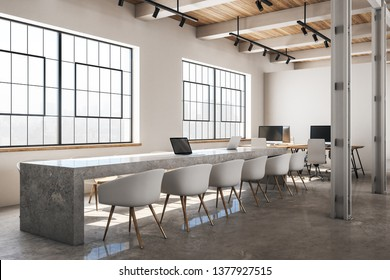 Concrete conference room interior with furniture and daylight. 3D Rendering