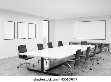 Concrete conference room interior with table, chairs, blank whiteboard, picture frames and city view. Mock up, 3D Rendering