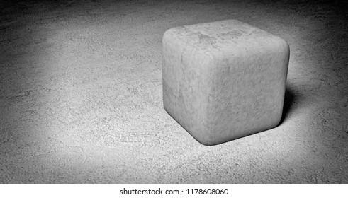 concrete cube - 3D illustration