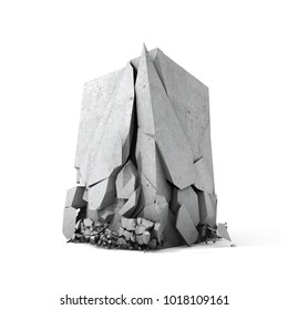 Concrete cube breaks down on surface. Isolated on white background. 3D illustration.