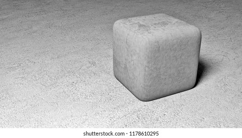 concrete cube on stone floor - 3D illustration