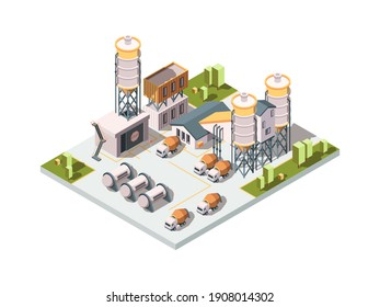Concrete factory. Machinery manufactory production industrial concept cement mixer machine and tanks isometric