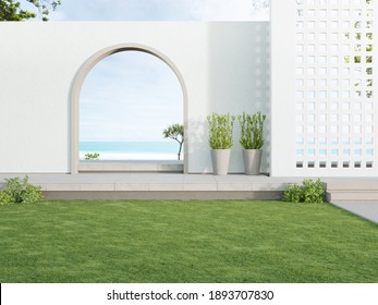 Concrete floor terrace and white ventilation block wall in luxury hotel or beach house. 3d rendering of arch gate near green grass lawn with sea view.