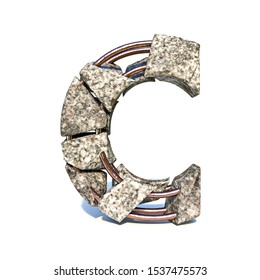 Concrete fracture font Letter C 3D render illustration isolated on white background
