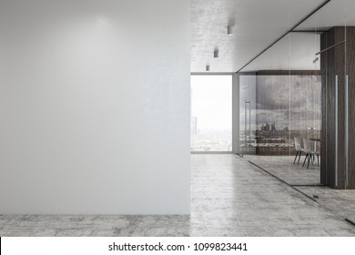 Concrete glass office corridor with daylight and copy space on wall. Mock up, 3D Rendering