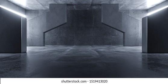 Concrete Grunge Big Hall Tunnel Alien Corridor Empty Futuristic Modern White Glowing Windows Stage Podium Industrial Garage Underground 3D Rendering Illustration