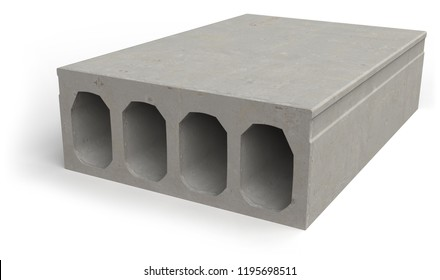Concrete hollowcore plank isolated on white. 3d rendering