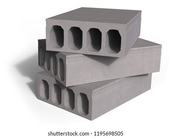 Concrete hollowcore planks isolated on white. 3d rendering
