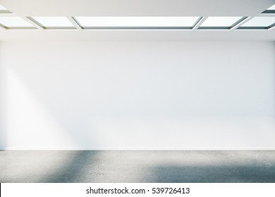 Concrete interior with empty wall, ceiling with windows and sunlight. Mock up, 3D Rendering