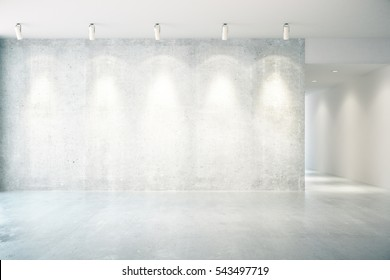 Concrete interior with illuminated empty wall. Mock up, Front view, 3D Rendering