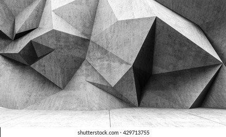 Concrete interior, polygonal wall background. 3D rendering.