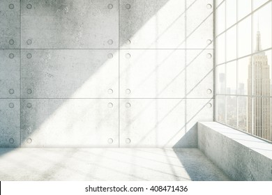 Concrete interior with sunlight and New York city view. 3D Rendering