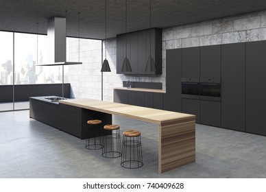 Concrete kitchen interior with a concrete floor, black cabinets and consoles with built in cookers and a balcony. Corner 3d rendering mock up