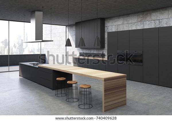 Concrete Kitchen Interior Concrete Floor Black Stock ...