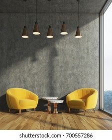 Concrete living room interior with dark concrete walls, two yellow armchairs and a coffee table. 3d rendering mock up