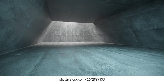 Concrete Long Triangle Shaped Underground Tunnel With Hole Sunlight Empty Space 3D Rendering  Illustration