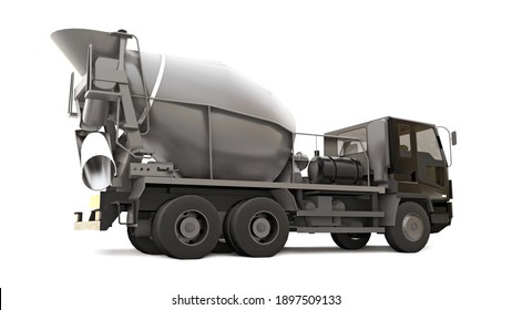 Concrete mixer truck with black cab and grey mixer on white background. Three-dimensional illustration of construction equipment. 3d rendering.