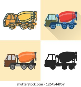 Concrete mixer truck icon set in flat and line styles. Industrial vehicle illustration. Transportation symbol isolated on white.