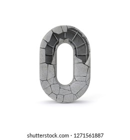 Concrete Number 0 with clipping path. 3D illustration