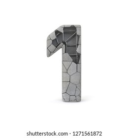 Concrete Number 1 with clipping path. 3D illustration